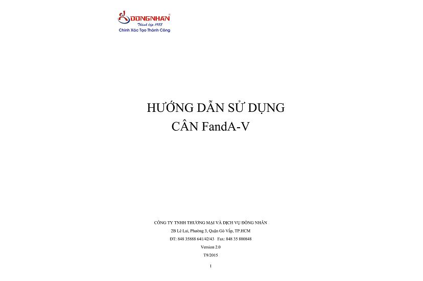 Hướng dẫn sử dụng cân máng rung FandA-V